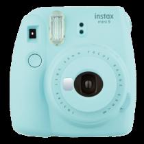 FUJI INSTAX MINI 9 eisblau Set  (Fujifilm Instax Mini 9+10er Pack Film + Instax Mini Film Rainbow + 10er Clips + Fotoseil)