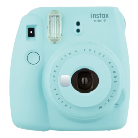 FUJI INSTAX MINI 9 eisblau Set  (Fujifilm Instax Mini 9+10er Pack Film + Instax Mini Film Rainbow + 10er Clips + Fotoseil)