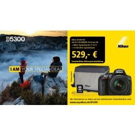 Nikon D5300 Kit inkl. AF-P DX 3,5-5,6 / 18-55 mm G ED VR schwarz inkl. 16GB SDHC + Orig.Nikon Tasche  inkl. gratis Video Tutorial
