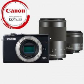 Canon EOS M 100 Schwarz + EF-M 15-45 / 3.5-6.3 IS STM Schwarz +EF-M 55-200mm IS STM Objektiv Schwarz
