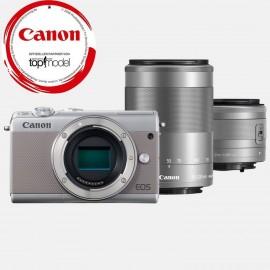 Canon EOS M 100 Grau + EF-M 15-45 / 3.5-6.3 IS STM  Silber + EF-M 55-200mm IS STM Objektiv Silber
