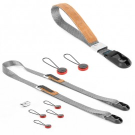 Peak Design Compact Strap Pack Ash - Set mit Leash-Kameragurt und Cuff-Handgelenkschlaufe